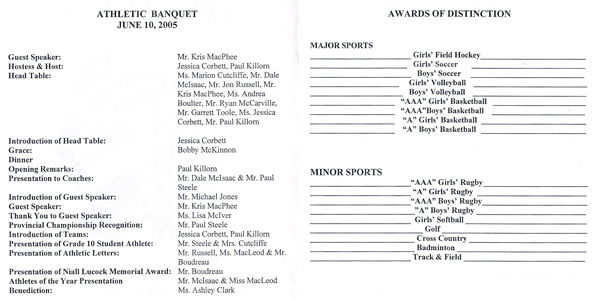 sports banquet program templates