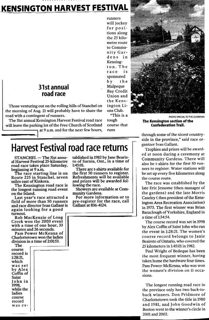 The Kensington Harvest Festival 31st annual 25K Road Race