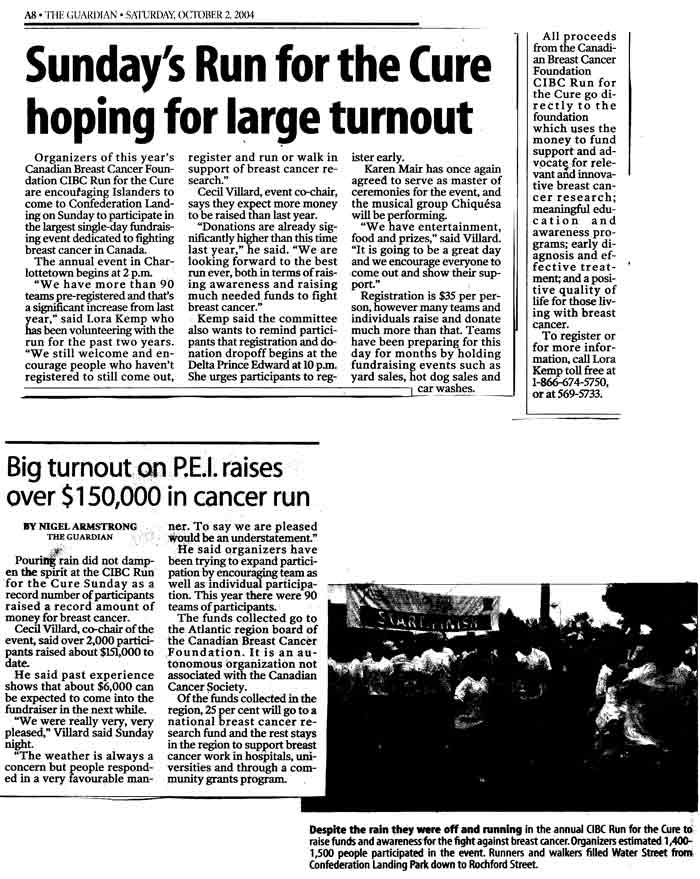 Run For The Cure Newspaper Coverage